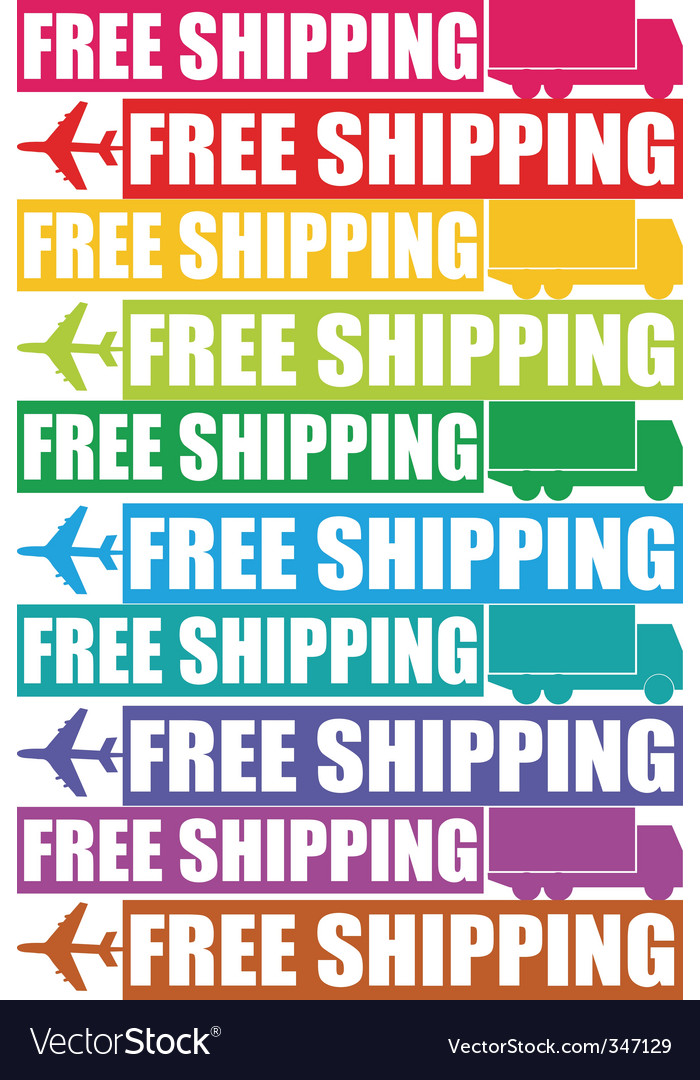 Colorful free shipping tag vector   Price: 1 Credit (USD $1)