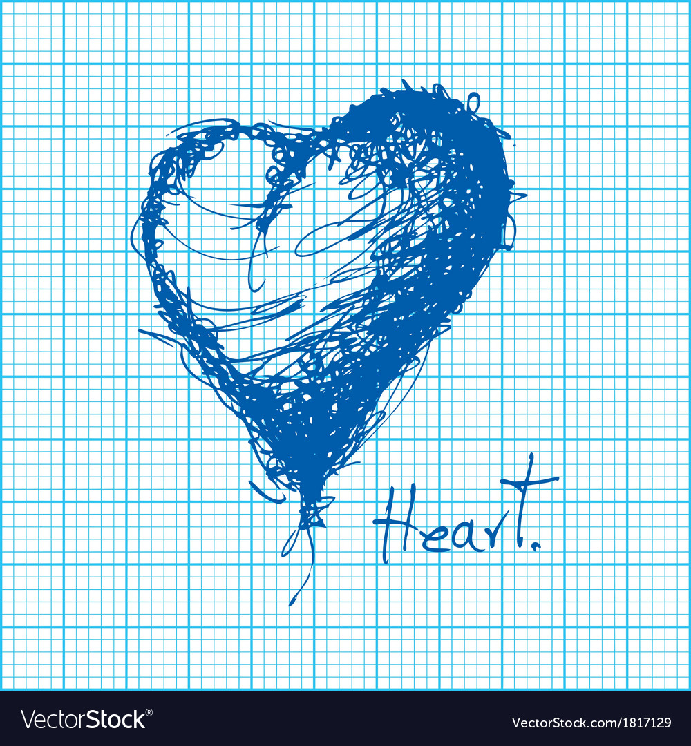 Drawing of heart on graph paper vector | Price: 1 Credit (USD $1)