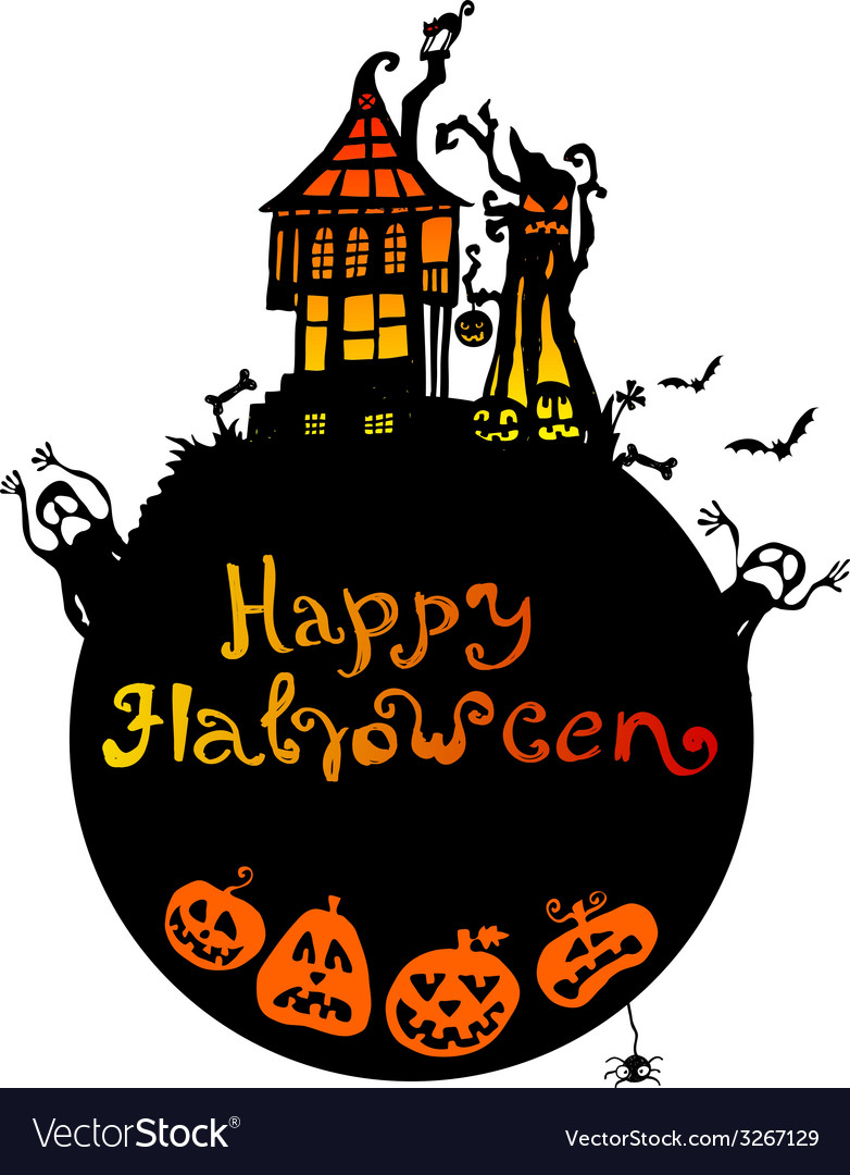 Halloween background with scary house vector | Price: 1 Credit (USD $1)