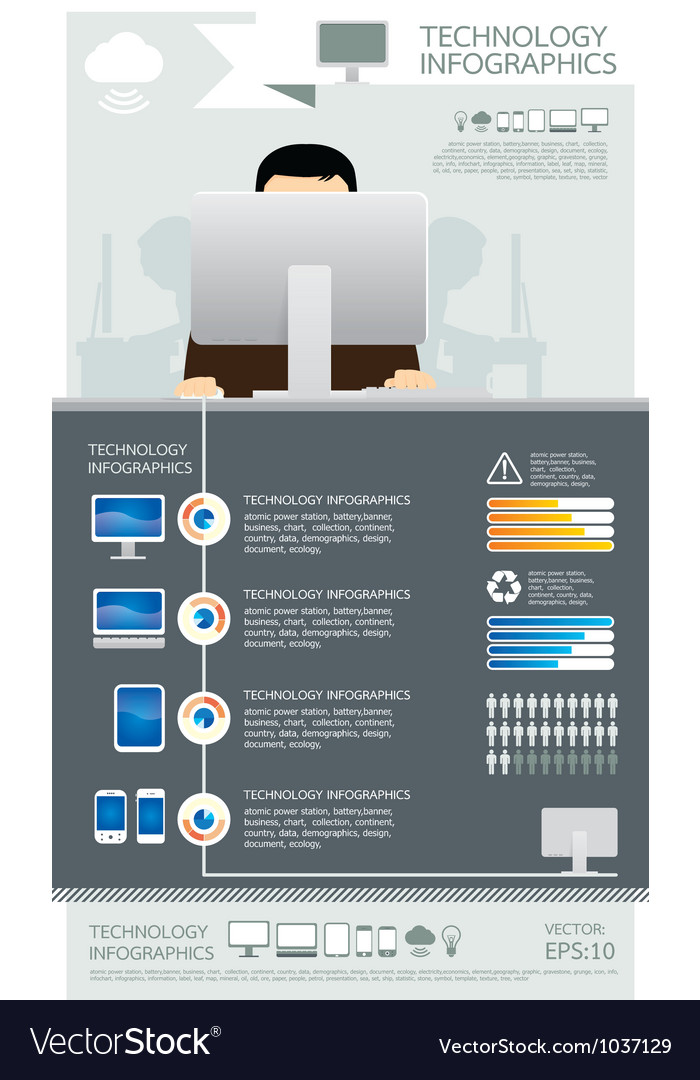 Infographic technology computer set vector   Price: 1 Credit (USD $1)