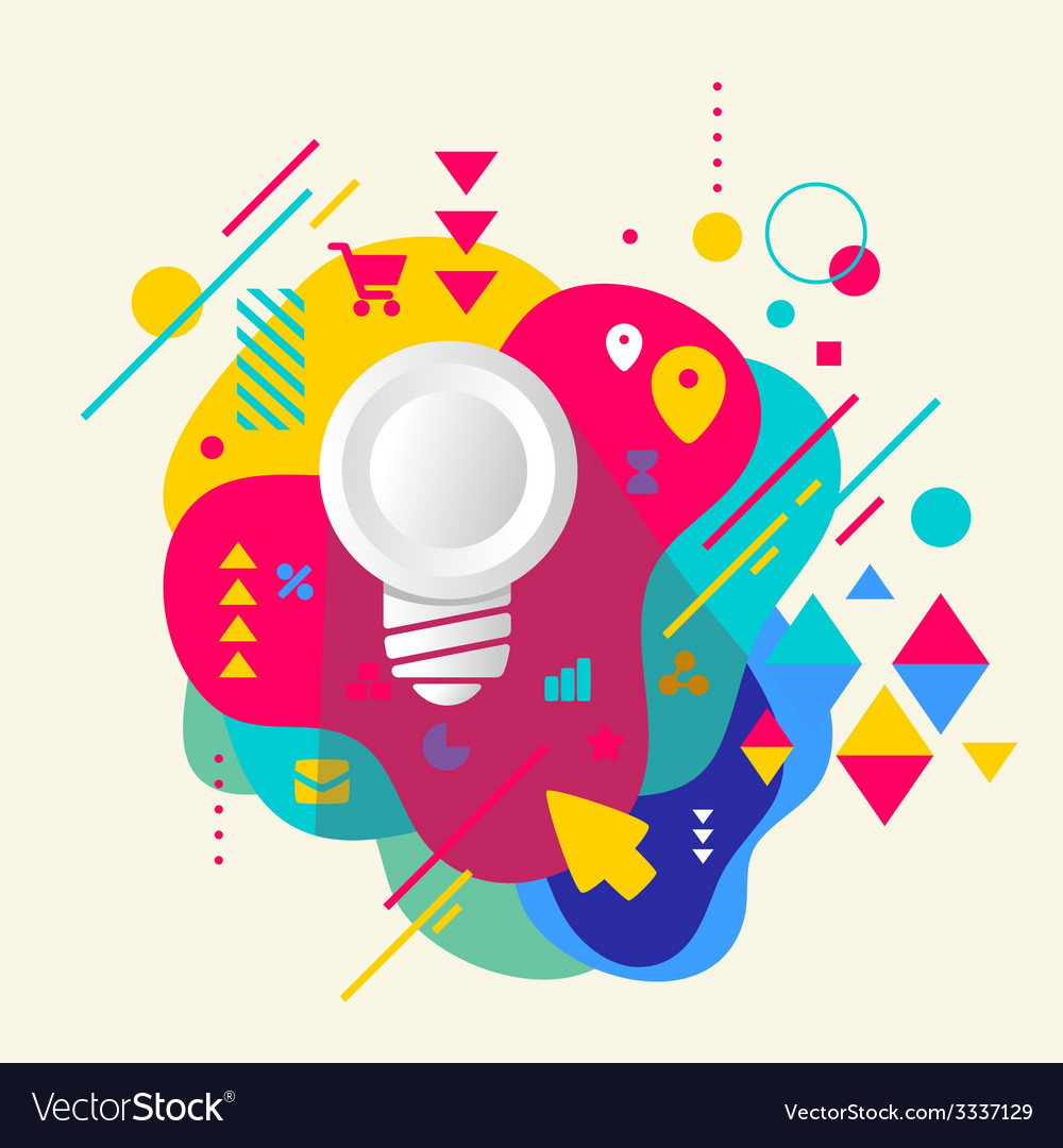 Light bulb on abstract colorful spotted background vector | Price: 3 Credit (USD $3)