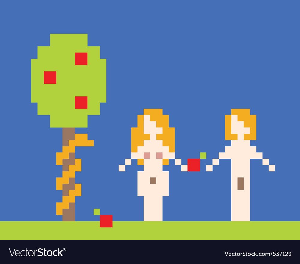 Illustration of adam and eve garden of eden near a vector | Price: 1 Credit (USD $1)