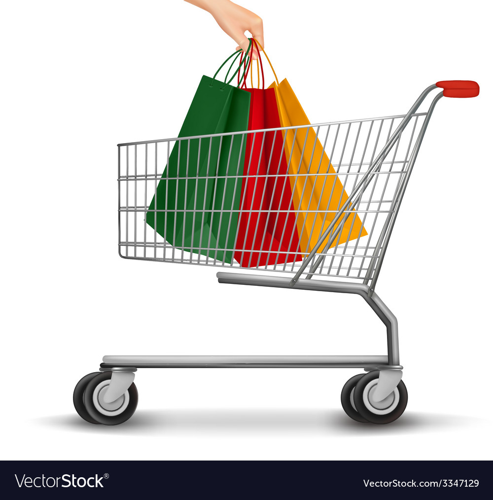 Shopping cart with colorful shopping bags discount vector | Price: 1 Credit (USD $1)