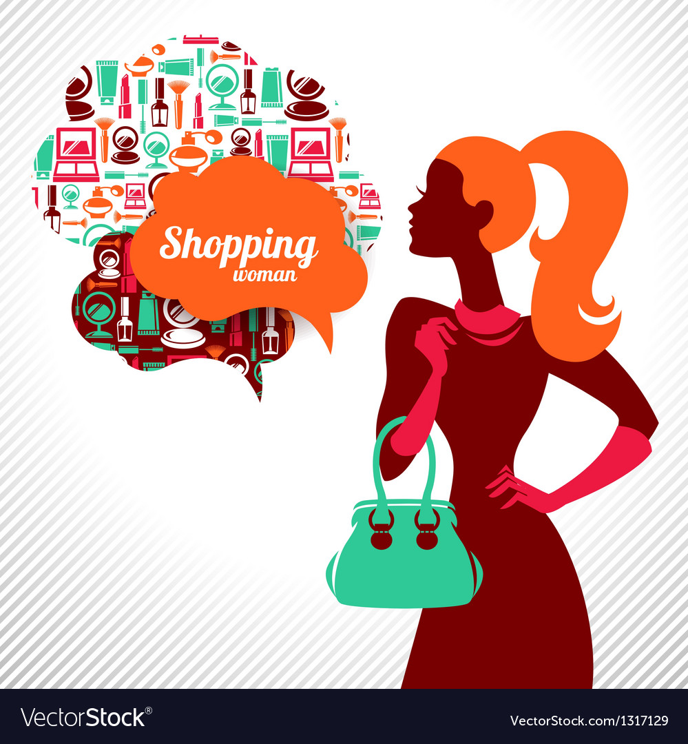 Shopping woman with elegant stylish design vector | Price: 1 Credit (USD $1)