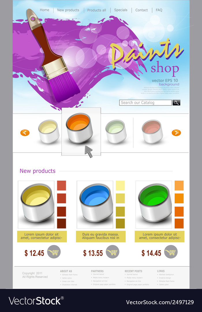 Website template paint shop vector | Price: 1 Credit (USD $1)