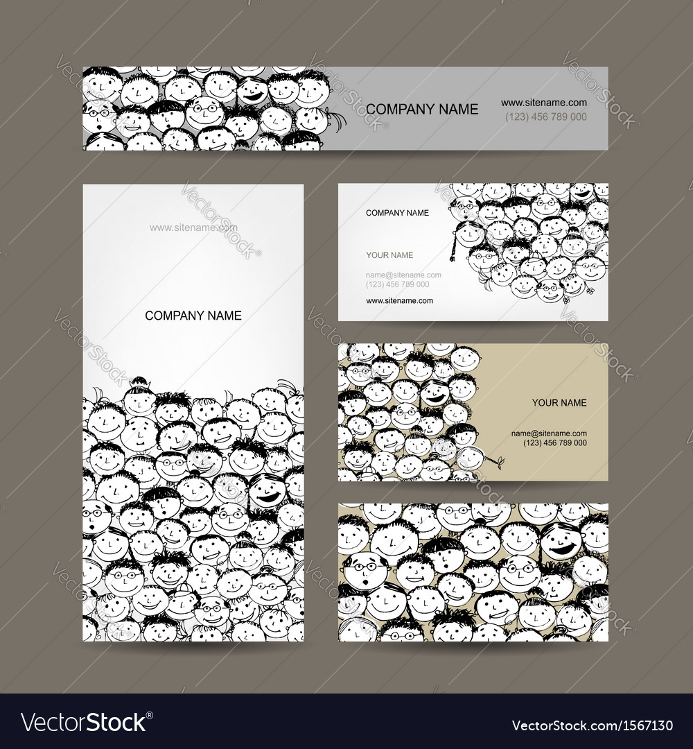 Business cards collection people crowd design vector | Price: 1 Credit (USD $1)
