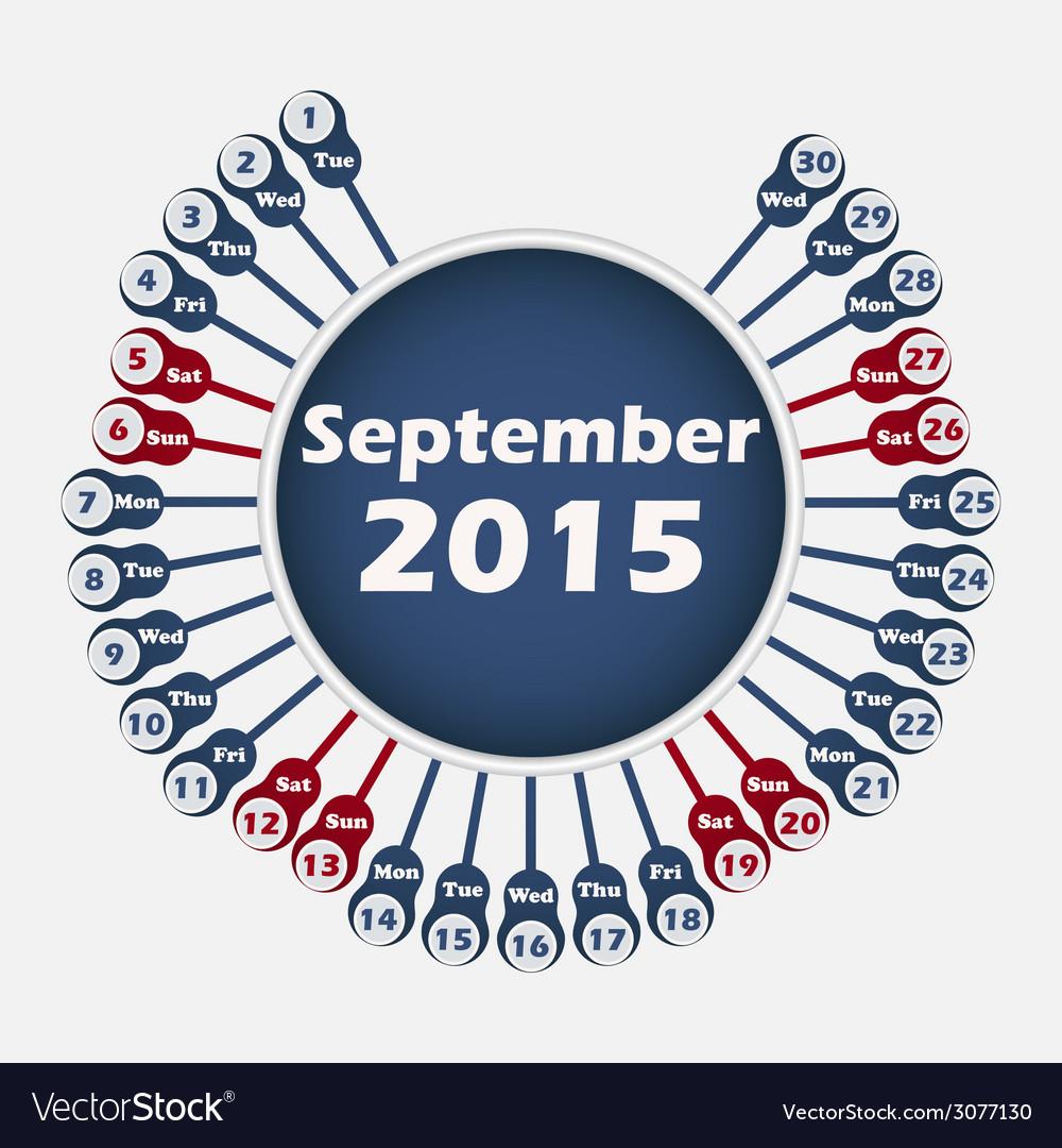 Calendar 2015 september template vector | Price: 1 Credit (USD $1)