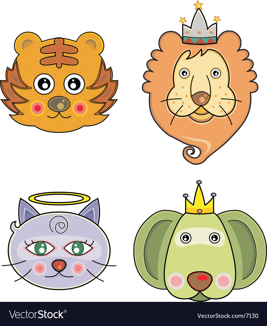 Cartoon animal faces vector | Price: 3 Credit (USD $3)