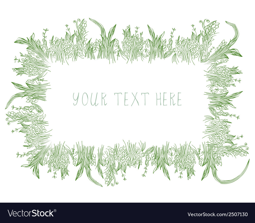 Grass frame background hand drawn vector | Price: 1 Credit (USD $1)
