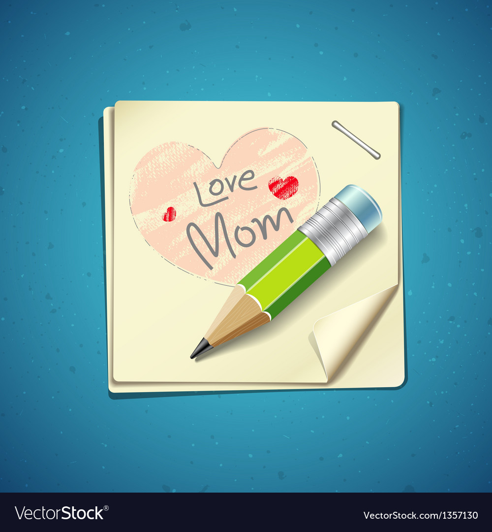 Happy mothers day paper note vector | Price: 3 Credit (USD $3)