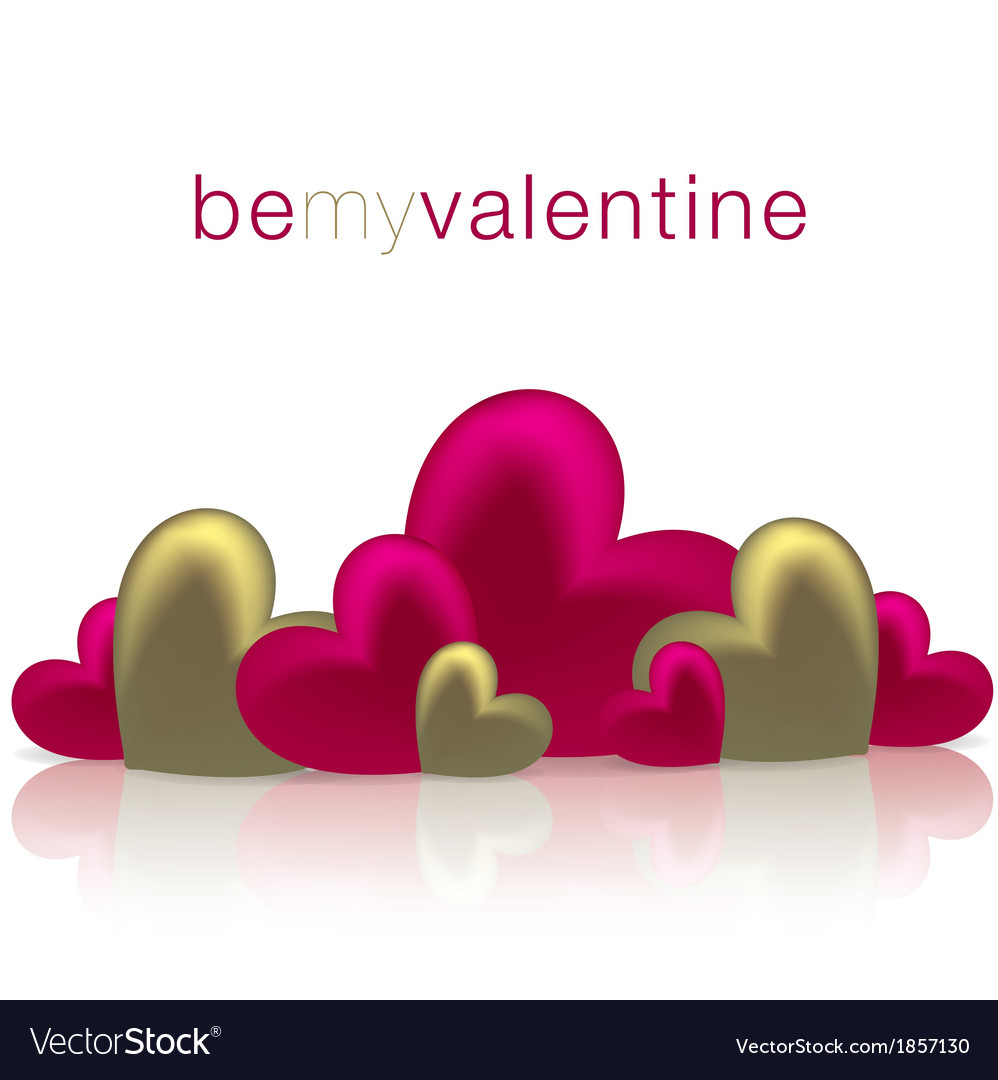 Hearts on a shiny surface valentines day card in vector   Price: 1 Credit (USD $1)