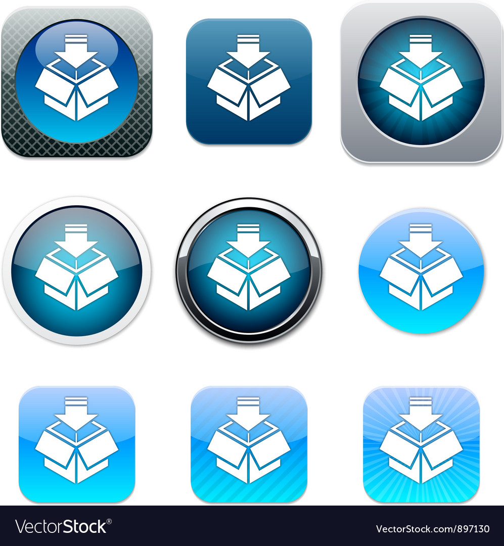 Package blue app icons vector | Price: 1 Credit (USD $1)