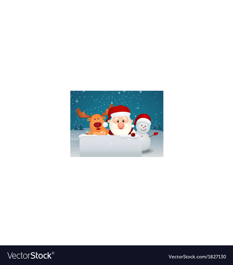 Santa claus with reindeer and snowman in winter la vector | Price: 1 Credit (USD $1)