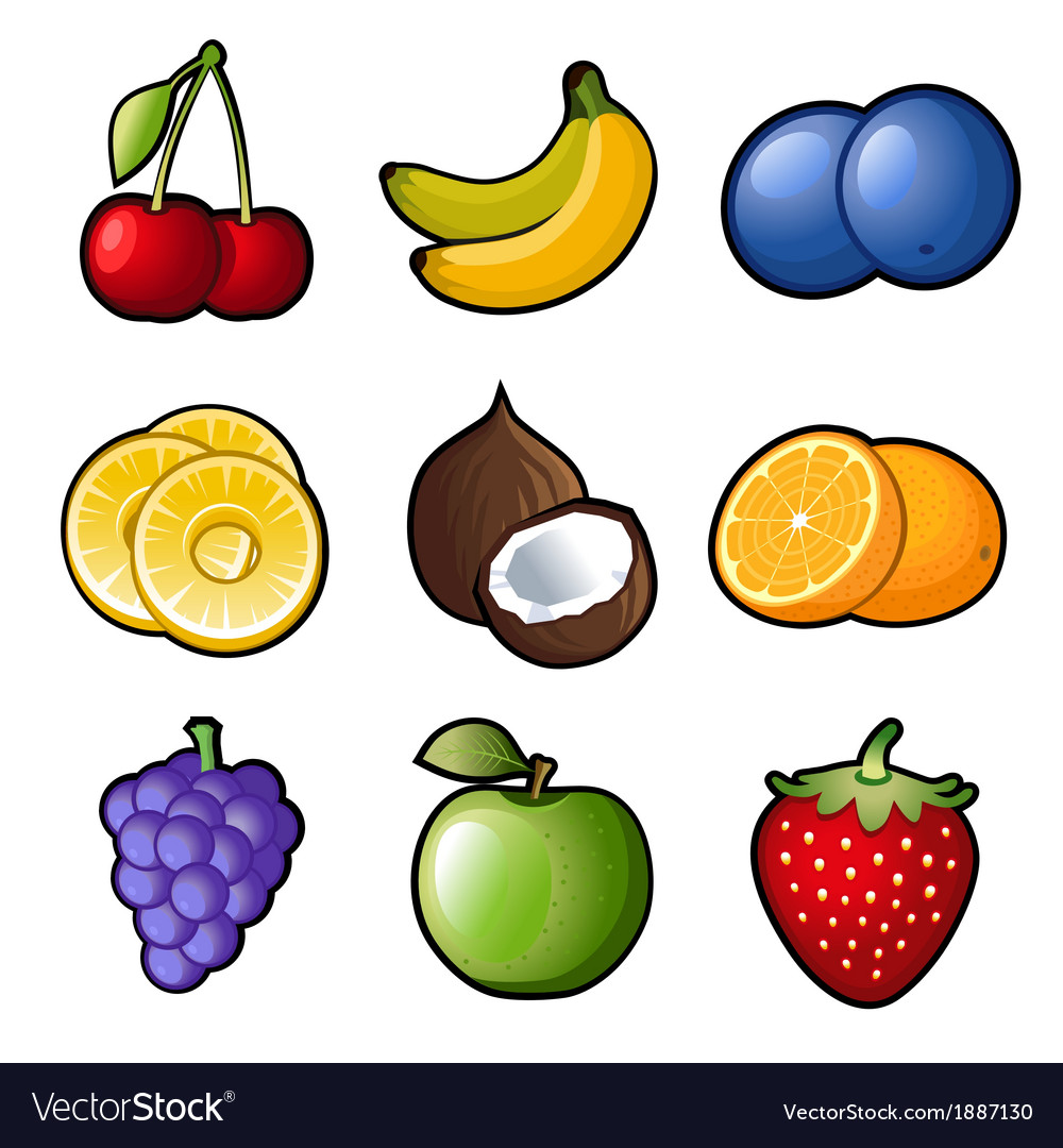 Set fruit icons vector | Price: 1 Credit (USD $1)