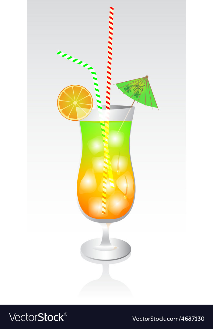 Tropical cocktail in glass vector | Price: 1 Credit (USD $1)