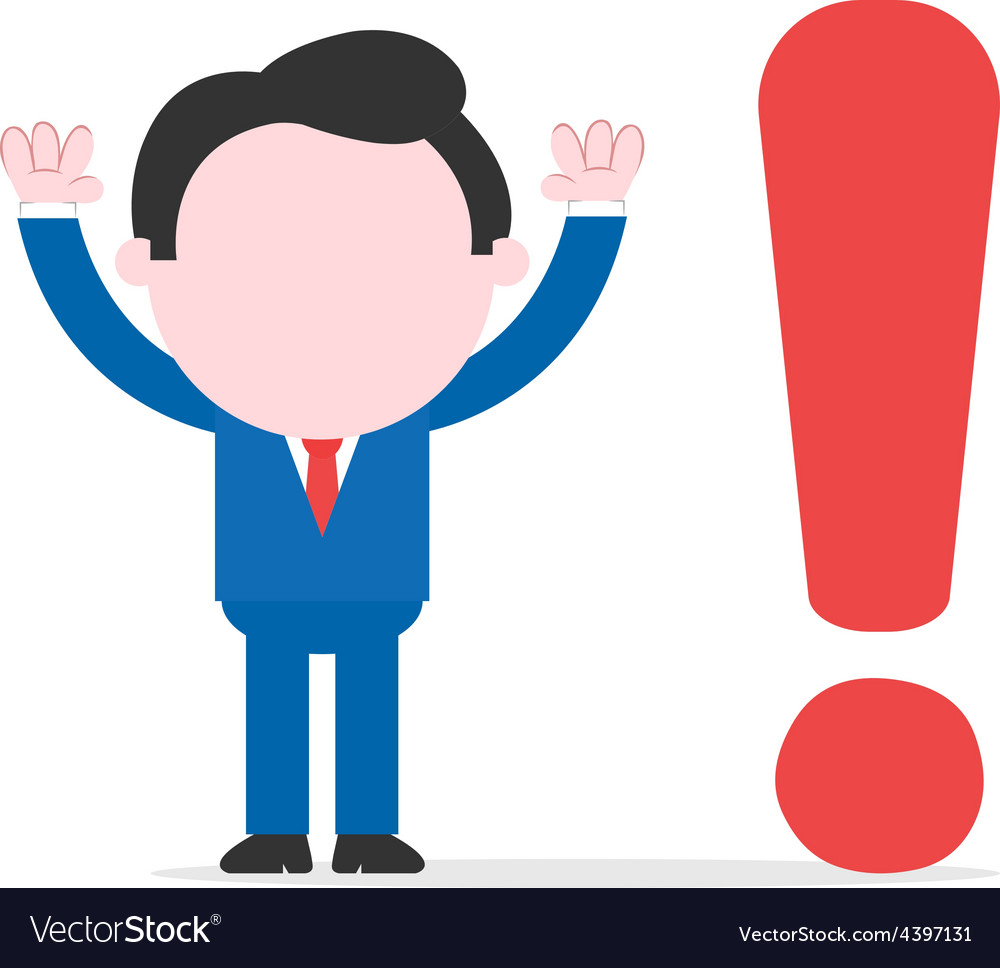 Businessman beside exclamation mark vector | Price: 1 Credit (USD $1)