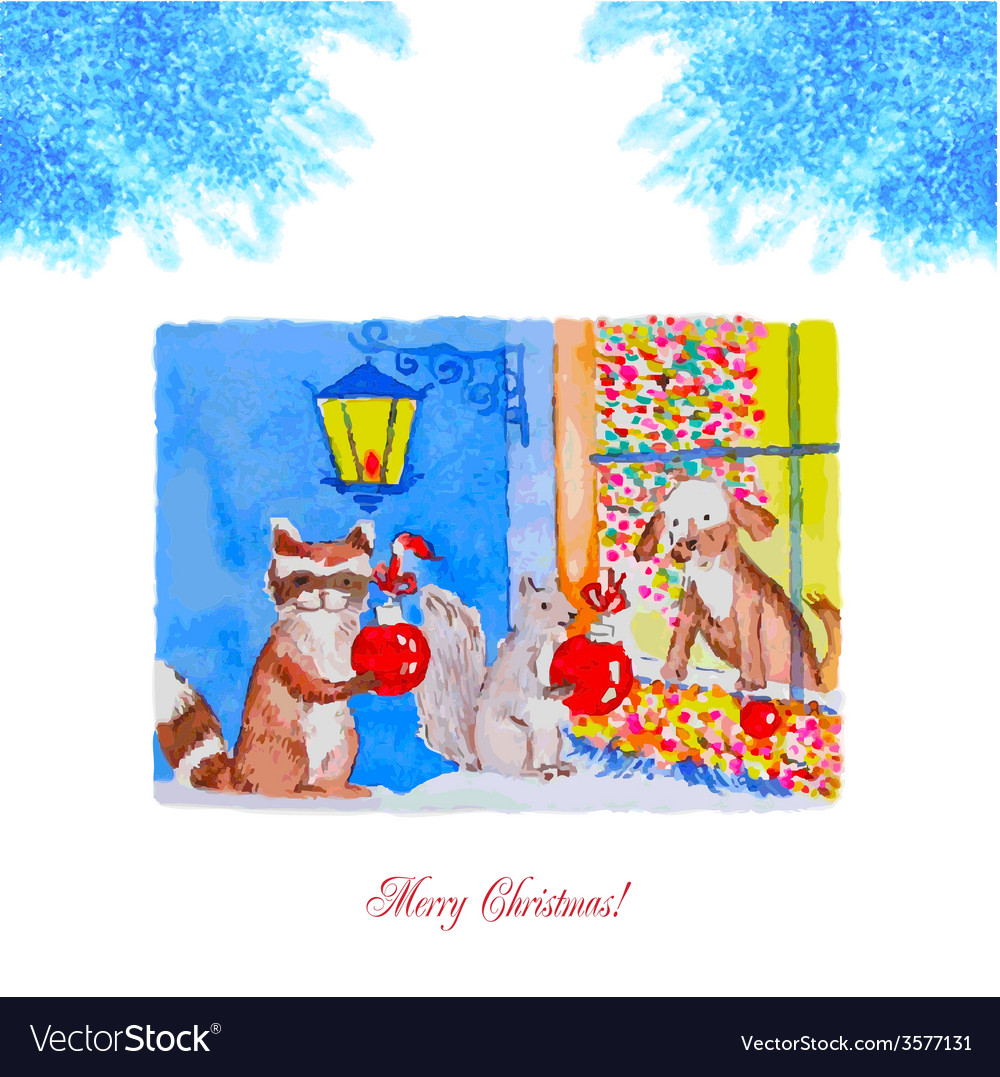 Card christmas eve with raccoon squirrel and dog vector | Price: 1 Credit (USD $1)