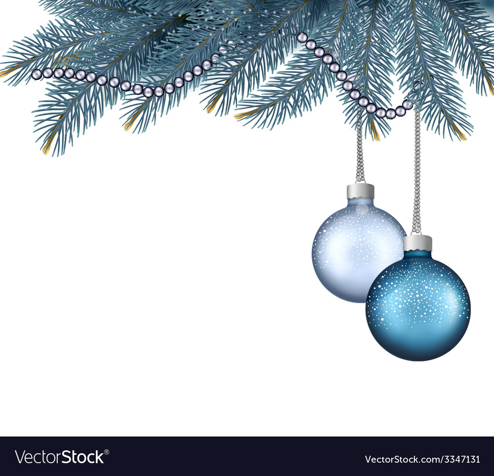 Christmas background with balls and branches vector | Price: 1 Credit (USD $1)