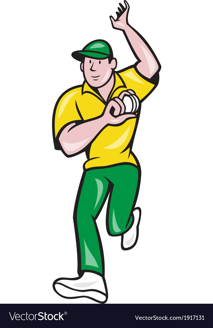 Cricket fast bowler bowling ball front isolated vector | Price: 1 Credit (USD $1)