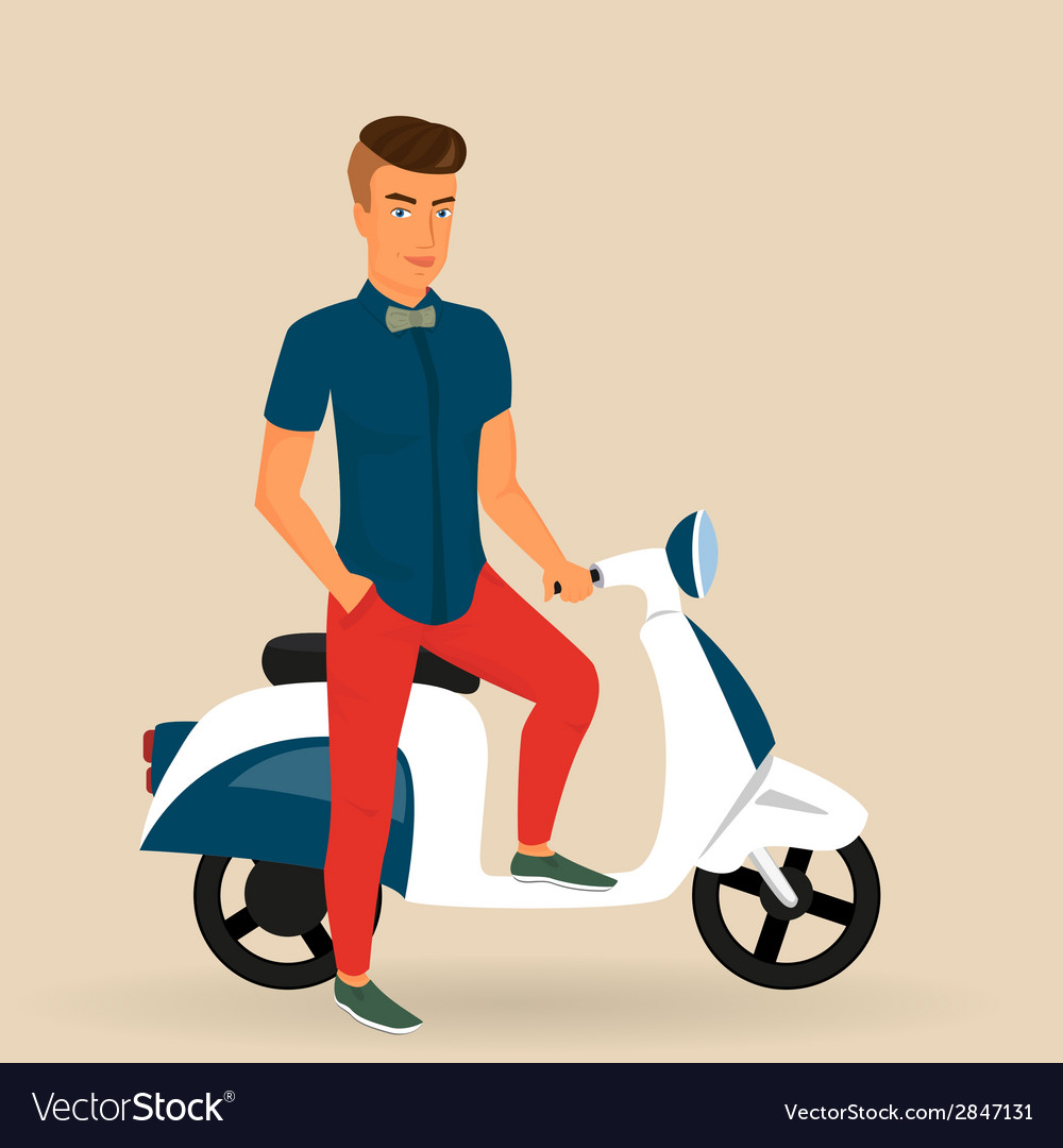 Hipster guy wearing stylish rides his motorbike vector | Price: 1 Credit (USD $1)