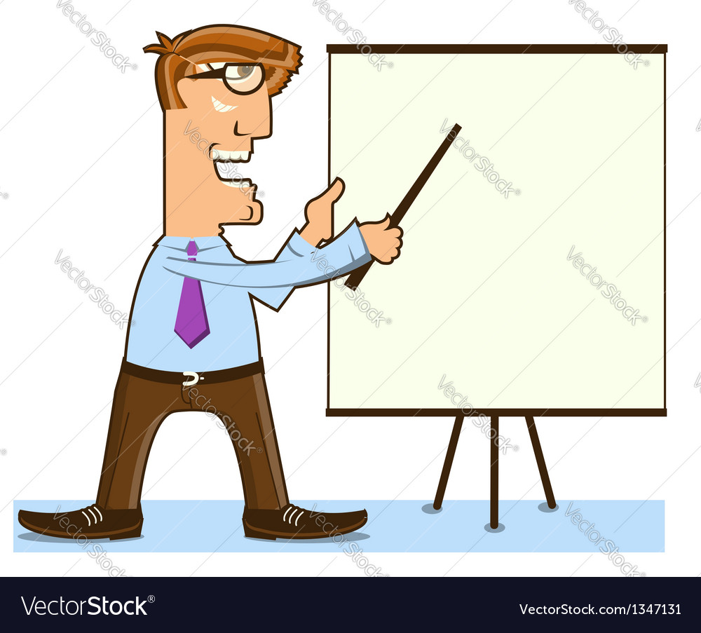 Office man and pointer near presentation board vector | Price: 1 Credit (USD $1)
