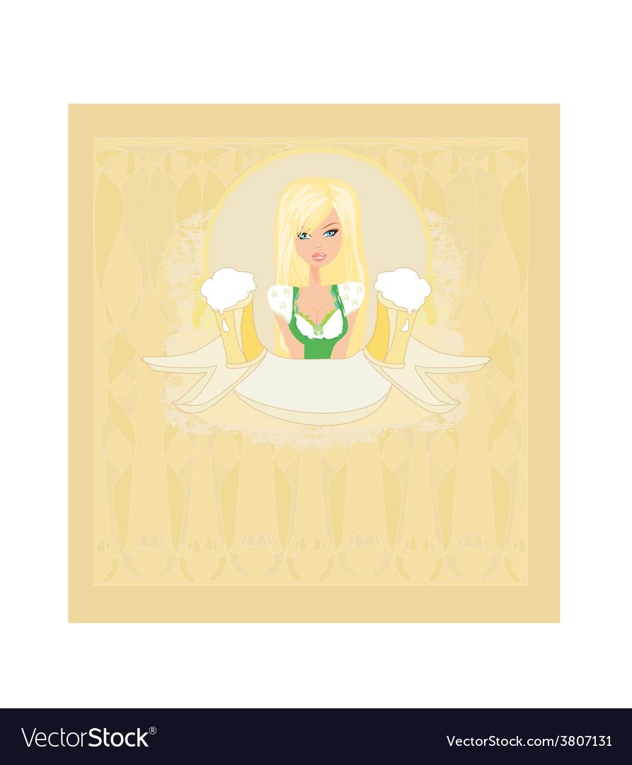 Oktoberfest waitress card vector | Price: 1 Credit (USD $1)