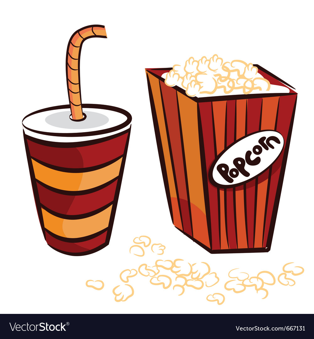 Popcorn and coke cup vector | Price: 1 Credit (USD $1)