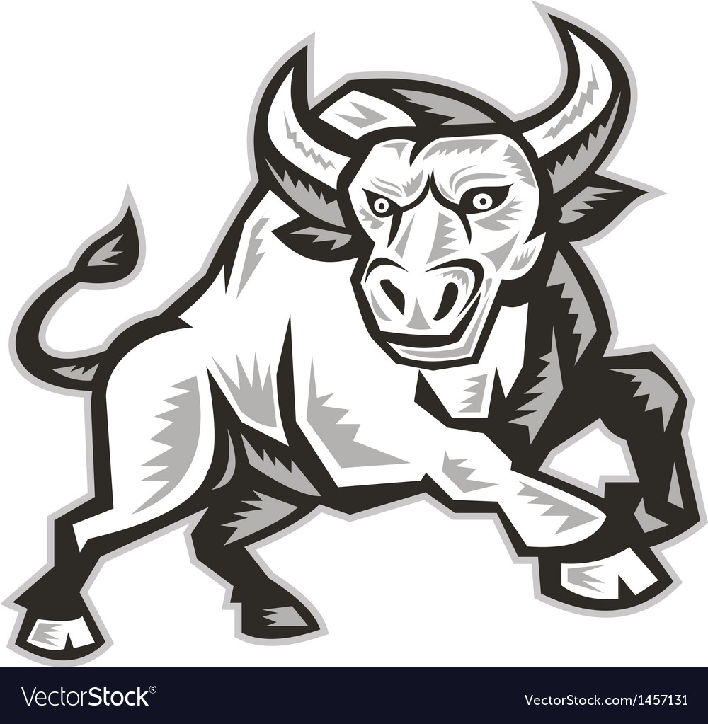 Raging bull attacking charging woodcut vector | Price: 1 Credit (USD $1)