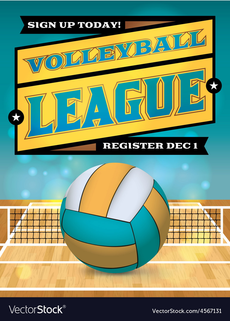 Volleyball league flyer vector | Price: 1 Credit (USD $1)