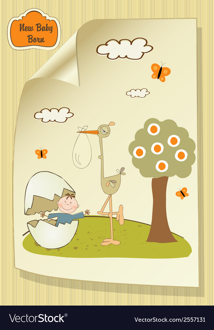 Welcome baby card with broken egg and little baby vector | Price: 1 Credit (USD $1)