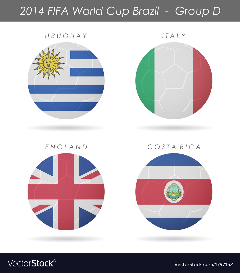 2014 fifa world cup group d countries vector