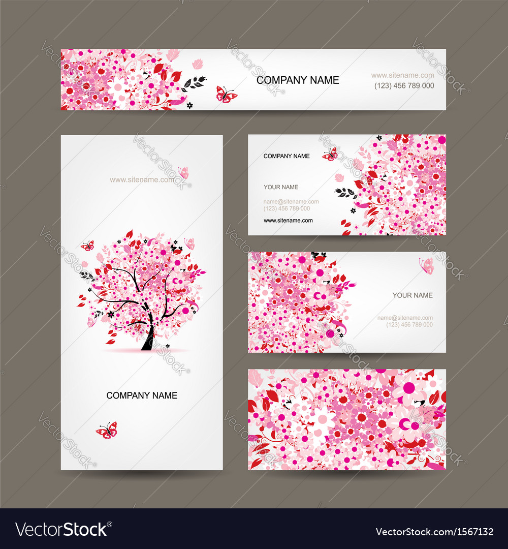 Business cards design with floral tree pink vector | Price: 1 Credit (USD $1)