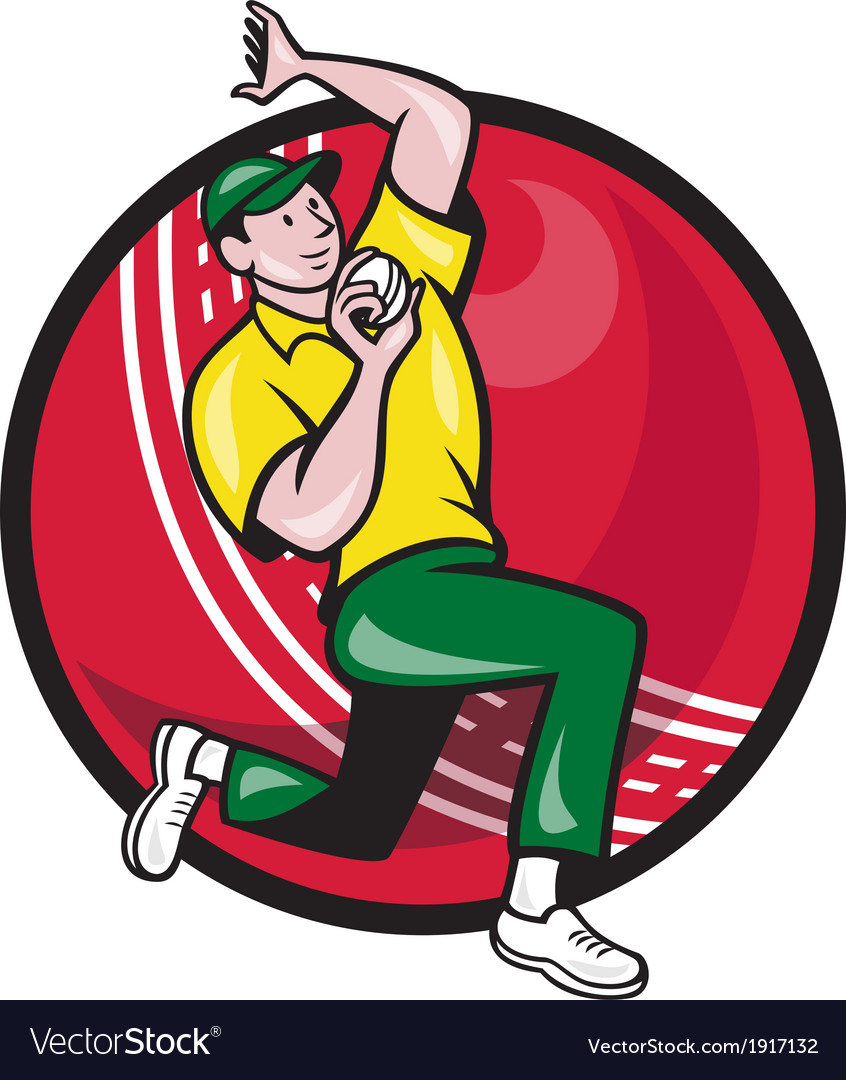 Cricket fast bowler bowling ball side vector | Price: 1 Credit (USD $1)