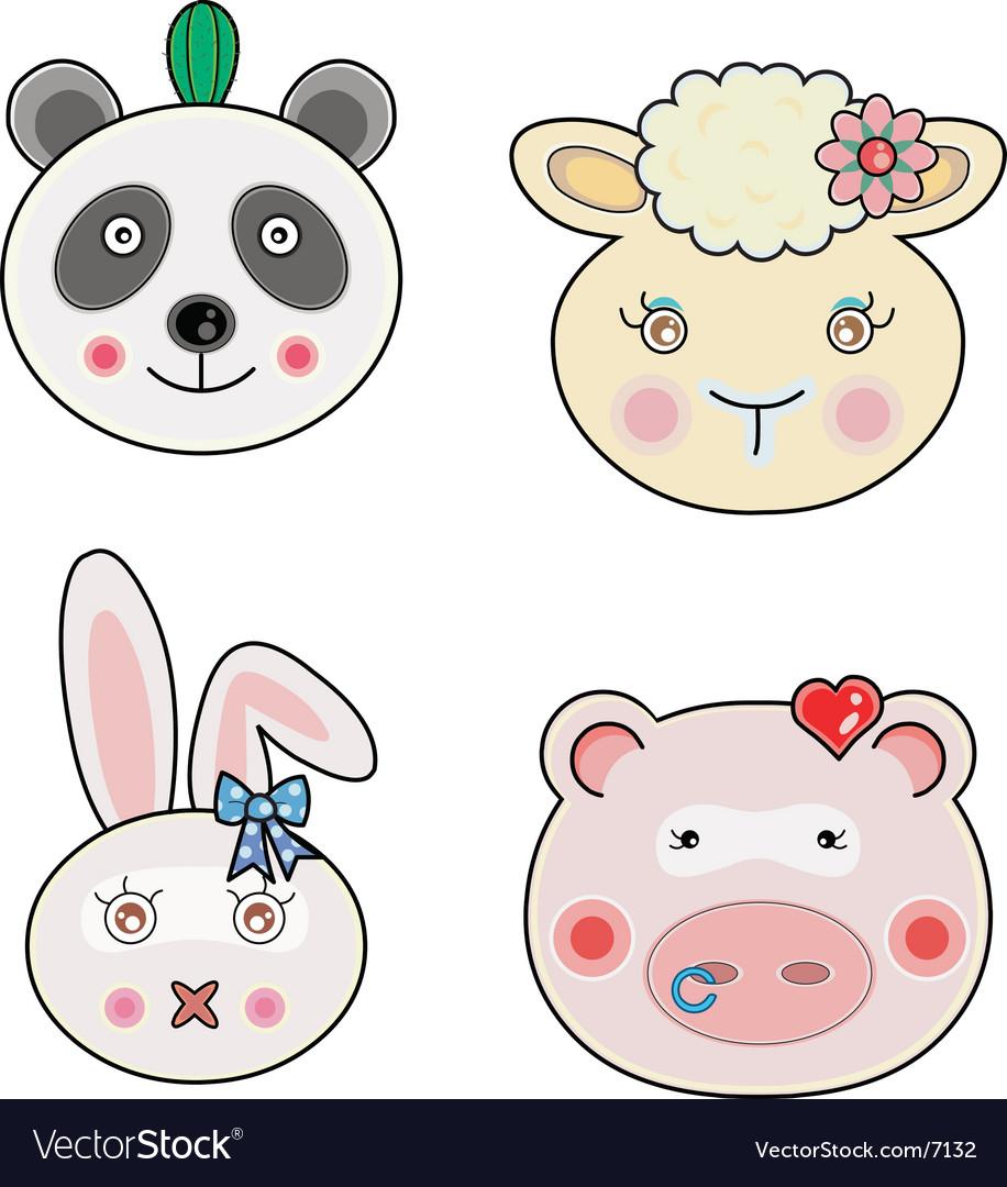 Cute animal faces vector | Price: 3 Credit (USD $3)