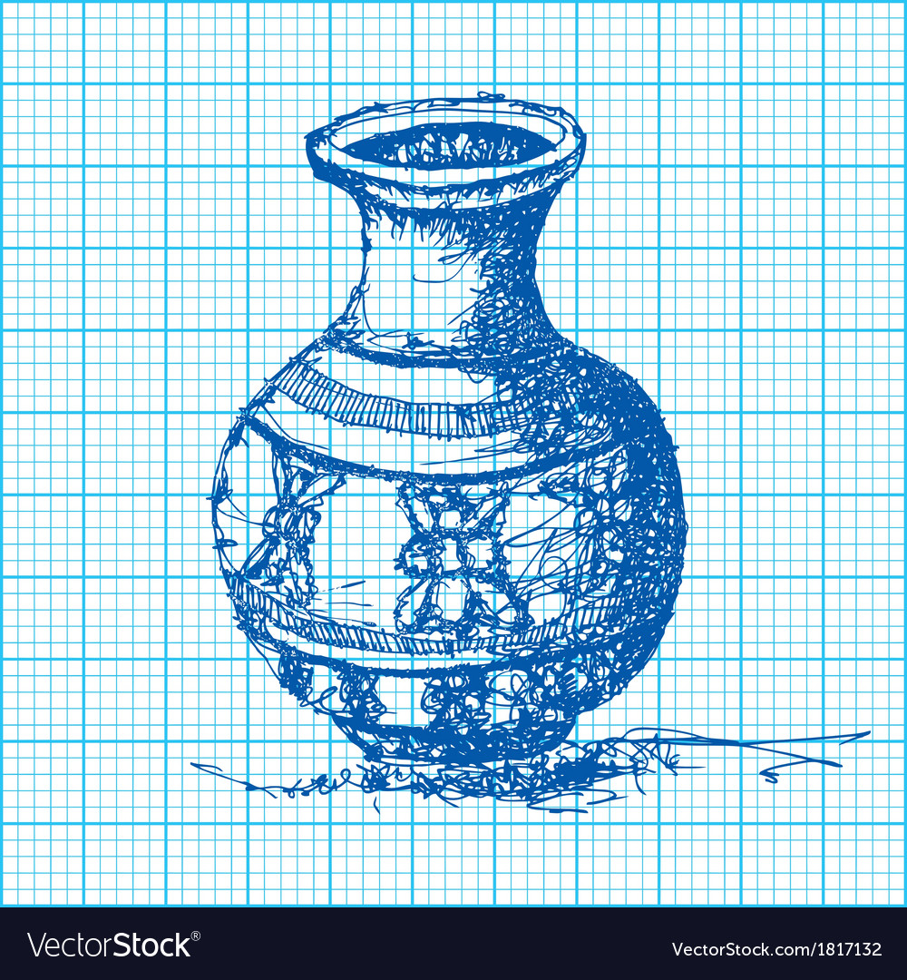 Drawing of jar on graph paper vector | Price: 1 Credit (USD $1)