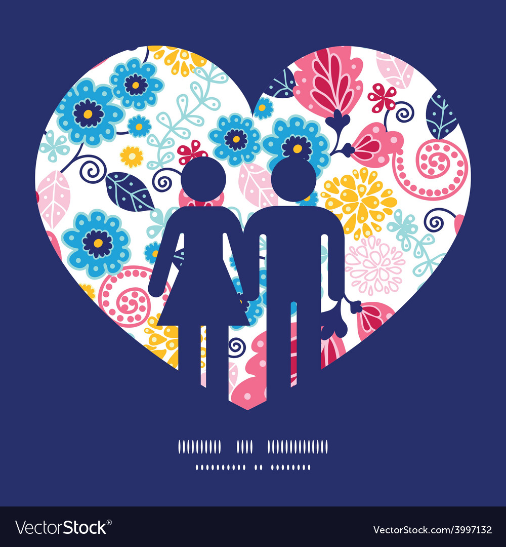 Fairytale flowers couple in love vector | Price: 1 Credit (USD $1)