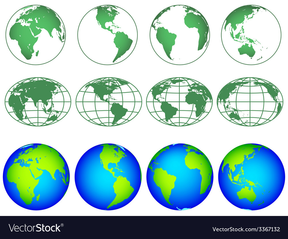 Globes icon collection vector   Price: 1 Credit (USD $1)