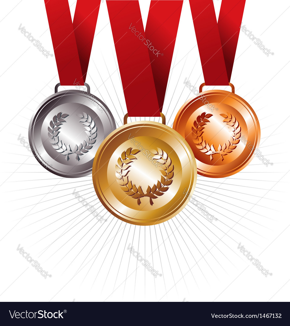 Gold silver and bronze medals with ribbon vector | Price: 1 Credit (USD $1)