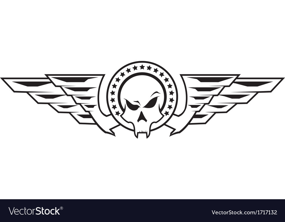 Insignia with skull and wings vector | Price: 1 Credit (USD $1)