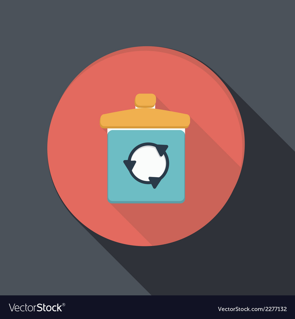 Paper flat icon with a shadow basket garbage vector | Price: 1 Credit (USD $1)