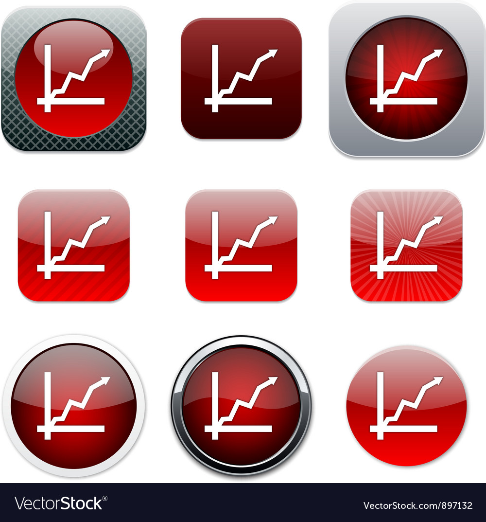 Positive trend red app icons vector | Price: 1 Credit (USD $1)
