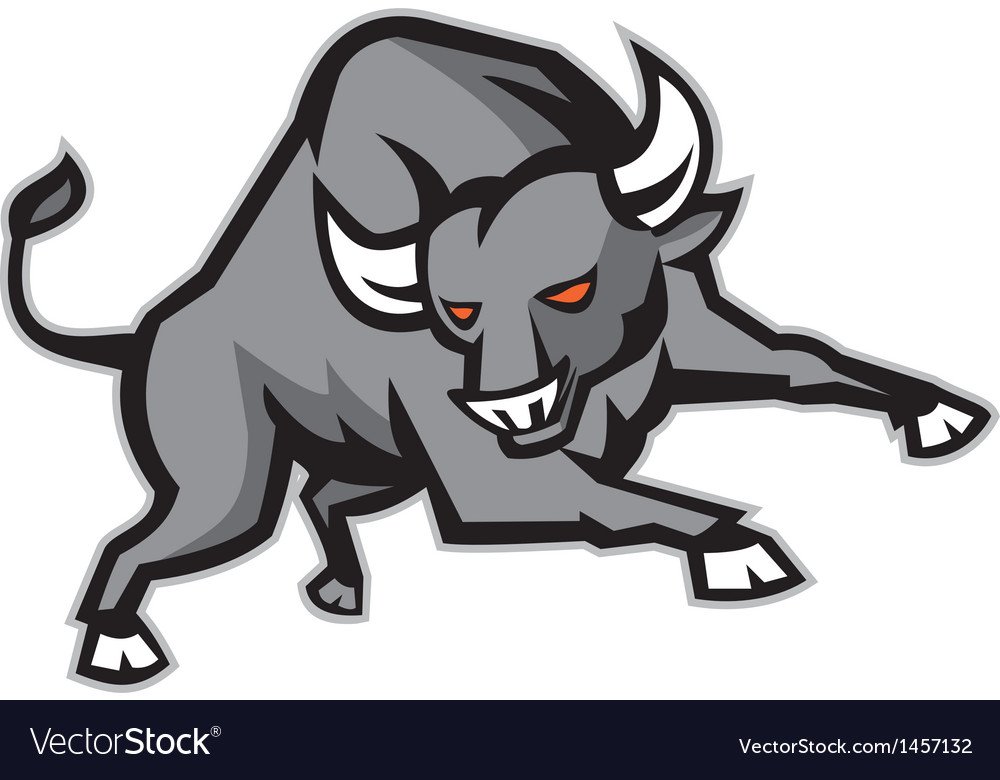 Raging bull attacking charging retro vector | Price: 1 Credit (USD $1)