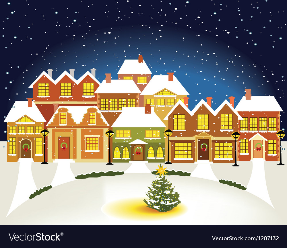 Winter town vector | Price: 3 Credit (USD $3)