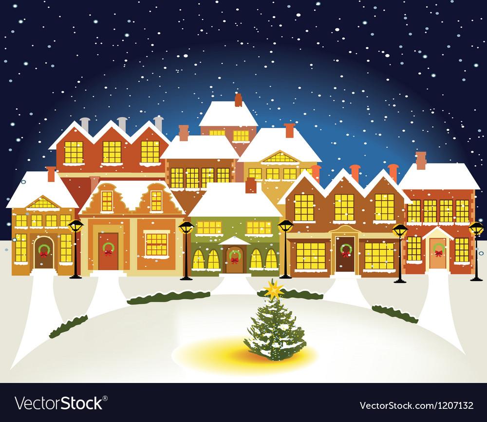 Winter town vector | Price: 3 Credit (USD $3)