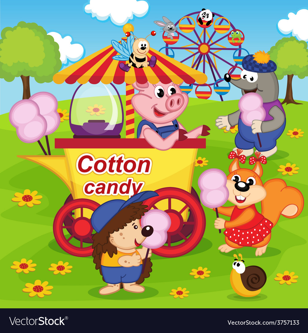 Animals eat cotton candy at amusement park vector | Price: 3 Credit (USD $3)