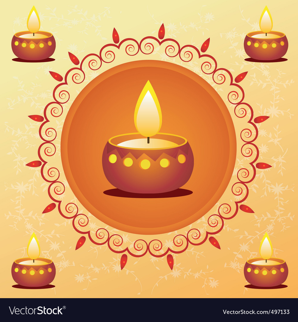 Diwali card decorated with diva vector | Price: 1 Credit (USD $1)