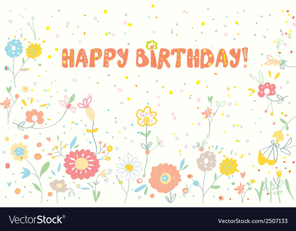 Happy birthday floral banner cute vector | Price: 1 Credit (USD $1)