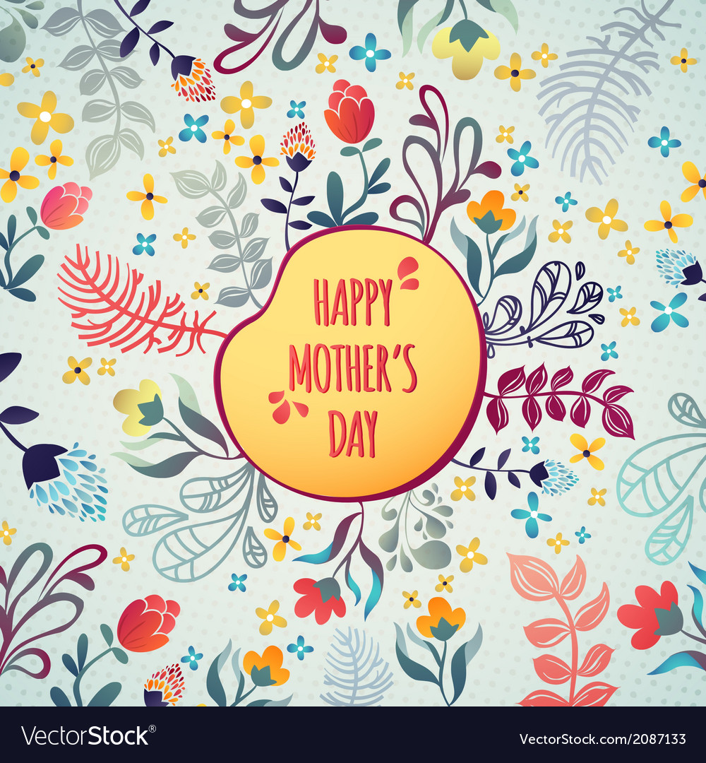 Happy mothers day flowers pattern decorative card vector | Price: 1 Credit (USD $1)