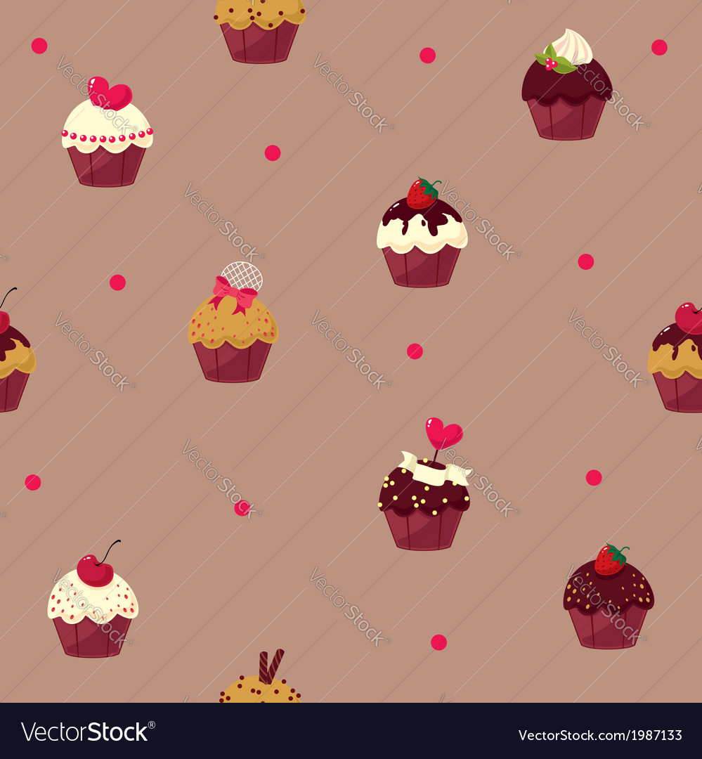 Seamless cartoon cake pattern vector | Price: 1 Credit (USD $1)