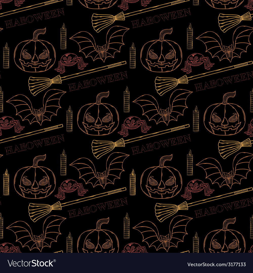 Seamless pattern halloween with themed elements vector | Price: 1 Credit (USD $1)